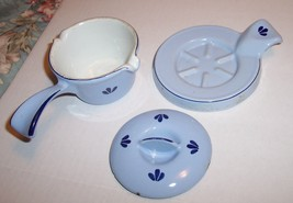 MADE IN HOLLAND DRU BLUE TULIP CAST IRON ENAMELWARE SMALL 3 PIECE MELTIN... - $19.99