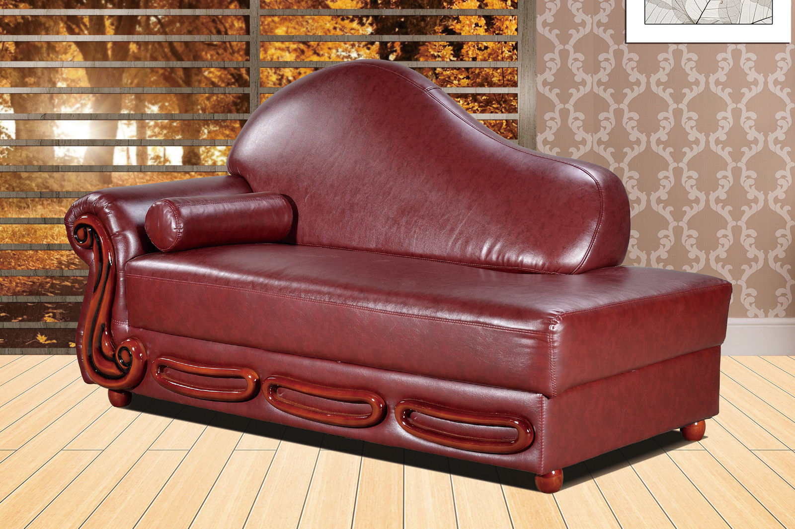 Meridian 632 Bella Living Room Chaise in Cognac Bonded Leather Traditional Style