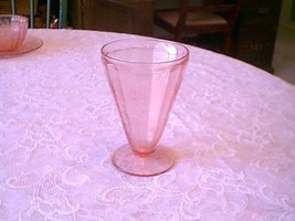 "Jeannette Glass Pink Floral Poinsettia 4 1/2"" Footed Tumbler - $5.00"