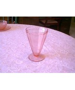 "Jeannette Glass Pink Floral Poinsettia 4 1/2"" Footed Tumbler - $11.88"