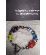 Silpada Colorful Lampwork Sterling Silver Glass Bead Bracelet B0871 - $53.87
