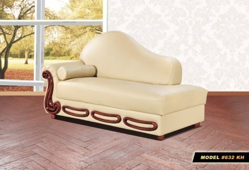 Meridian 632 Bella Living Room Chaise in Khaki Bonded Leather Traditional Style