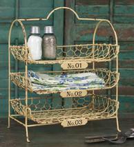 Vintage Wire 3 Tier Desk Bath Caddy Organizer Distressed Country Farmhouse - $44.49