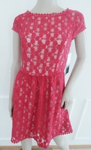 Nwt Kensie Fit & Flare Lace Pleated Cocktail  Dress Sz S Small Cherry Combo $99 - $49.45