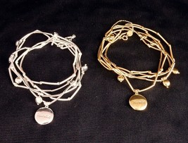 """5-Band Tube Bead Bracelet, w/Inscribed Charm """"Miracle"""", White or Yellow Brass - $5.95"""