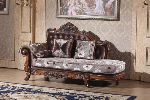 Meridian 637 Marbella Living Room Chaise in Rose Crystal Traditional Style