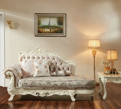 Meridian 638 Venice Living Room Chaise in Silver Crystal Traditional Style
