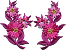 Hot pink daisies pair flowers floral bouquet boho applique iron-on patch S-727 - $2.62