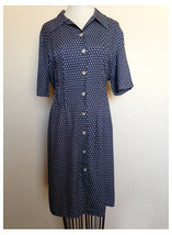Vintage 80s J.B.S. Navy Blue White Small Floral Print Shirt Style Dress ... - $12.37