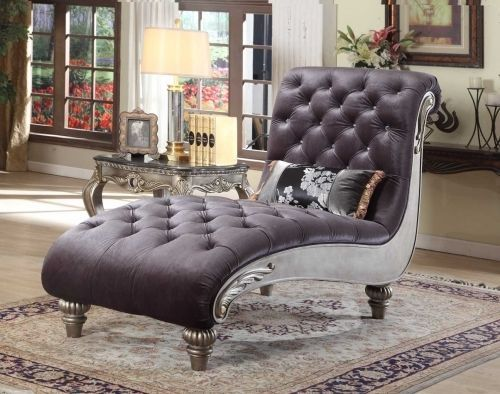 Meridian 653 Fabric Living Room Chaise Dark Grey Velvet Traditional Style