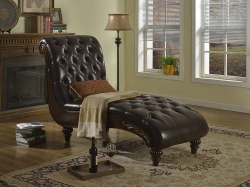 Meridian 654 Bonded Leather Living Room Chaise Brown Traditional Style