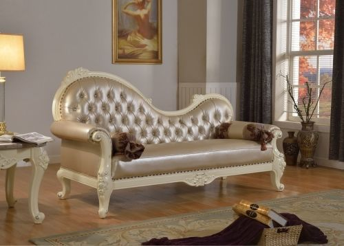 Meridian 674 Bonded Leather Living Room Chaise Pearl Traditional Style