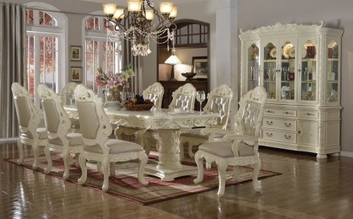 Meridian 702 Dining Room Set 7pc. Hand Crafted Pearl White Traditional Style