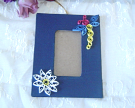 Handcrafted Blue Dragonfly Hanging Picture Frame Paper Quill - $14.99