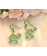 Handcrafted Paper Quill Light Green Turtle Earrings - $12.99