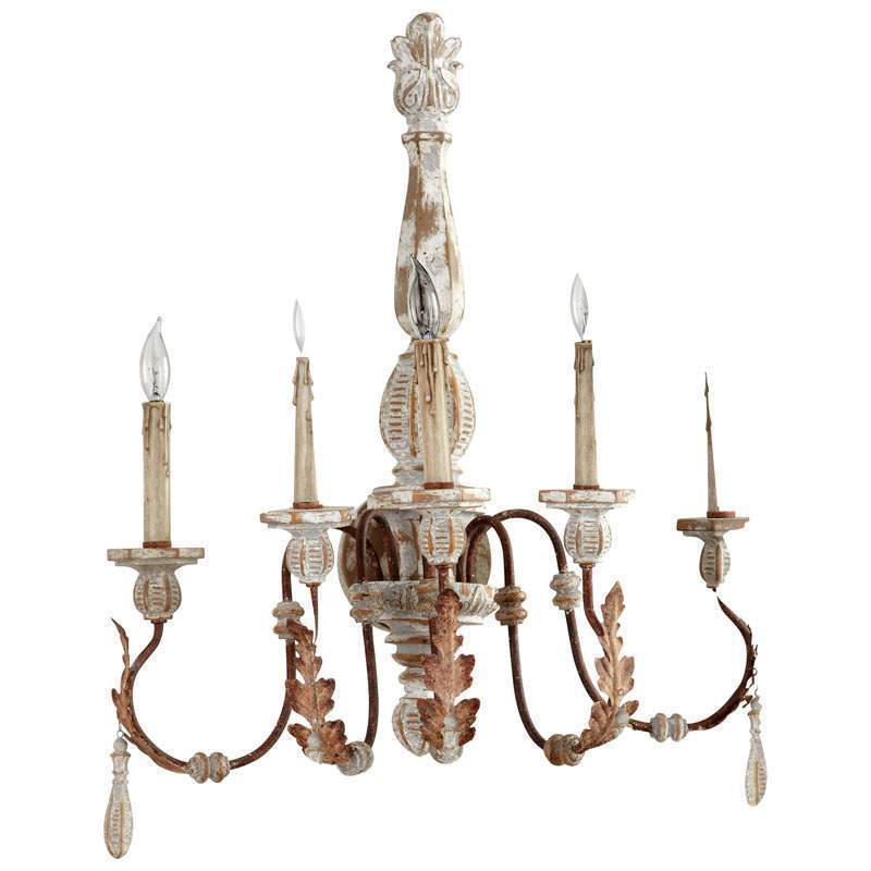 "Primary image for 27"" H French Cottage Shabby Iron, Rust & Grey Anthro Chic Chandelier $553"