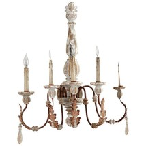 "27"" H French Cottage Shabby Iron, Rust & Grey Anthro Chic Chandelier $553 - $351.45"