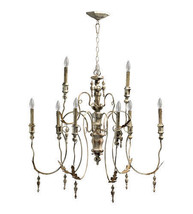 "34"" H Currey & Company Style French Turned Wood & Metal 2 Tier Chandelier - $539.55"