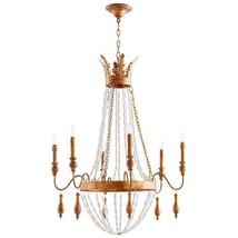 "38.5"" H Cyan Design Alexandra 6 Light Chandelier French Empire, Gold, Wood Beads - $840.51"