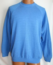 Vintage 90s Fruit Of The Loom Blank Blue Raglan 50/50 Sweatshirt Xl Casualwear - $19.79