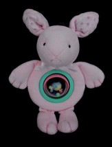Carters Pink BUNNY Rabbit Rattle Flowers  Plush Baby Toy Just One Year - $15.63
