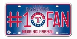 TEXAS RANGERS #1 FAN CAR AUTO METAL LICENSE PLATE TAG MLB BASEBALL - $12.10