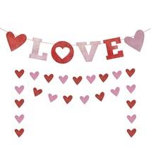 Love Banner, Red Glittery Valentines Day Banner, Valentines Day Decora - $19.99