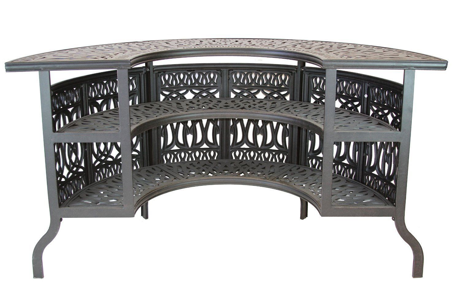 Elizabeth Outdoor Patio Party Bar Table Cast Aluminum Dark Bronze
