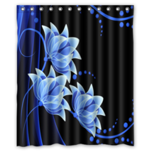 Abstract Blue Flower Pattern #04 Shower Curtain Waterproof Made From Polyester - $29.07+