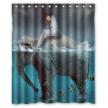 Abstract Elephant Pattern #08 Shower Curtain Waterproof Made From Polyester - $29.07+
