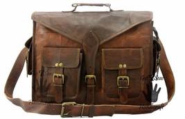New Vintage rugged  Men's Genuine Leather messenger Briefcase laptop Bag... - $58.41