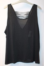 New Womens Plus Size 3 X Cool Black Active Club Mesh Tank Top Shirt W Caged Back - $15.47