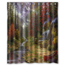 Abstract Landscape Nature Painting Shower Curtain Waterproof Made From P... - $29.07+