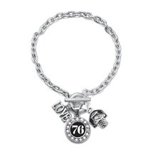 Inspired Silver Number 76 Love Basketball Charm Bracelet - $13.71