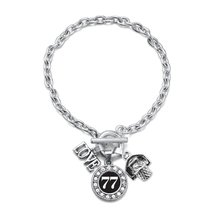 Inspired Silver Number 77 Love Basketball Charm Bracelet - $13.71