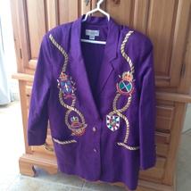 purple blazer nautical motif by adam Douglas size 12 - $64.99
