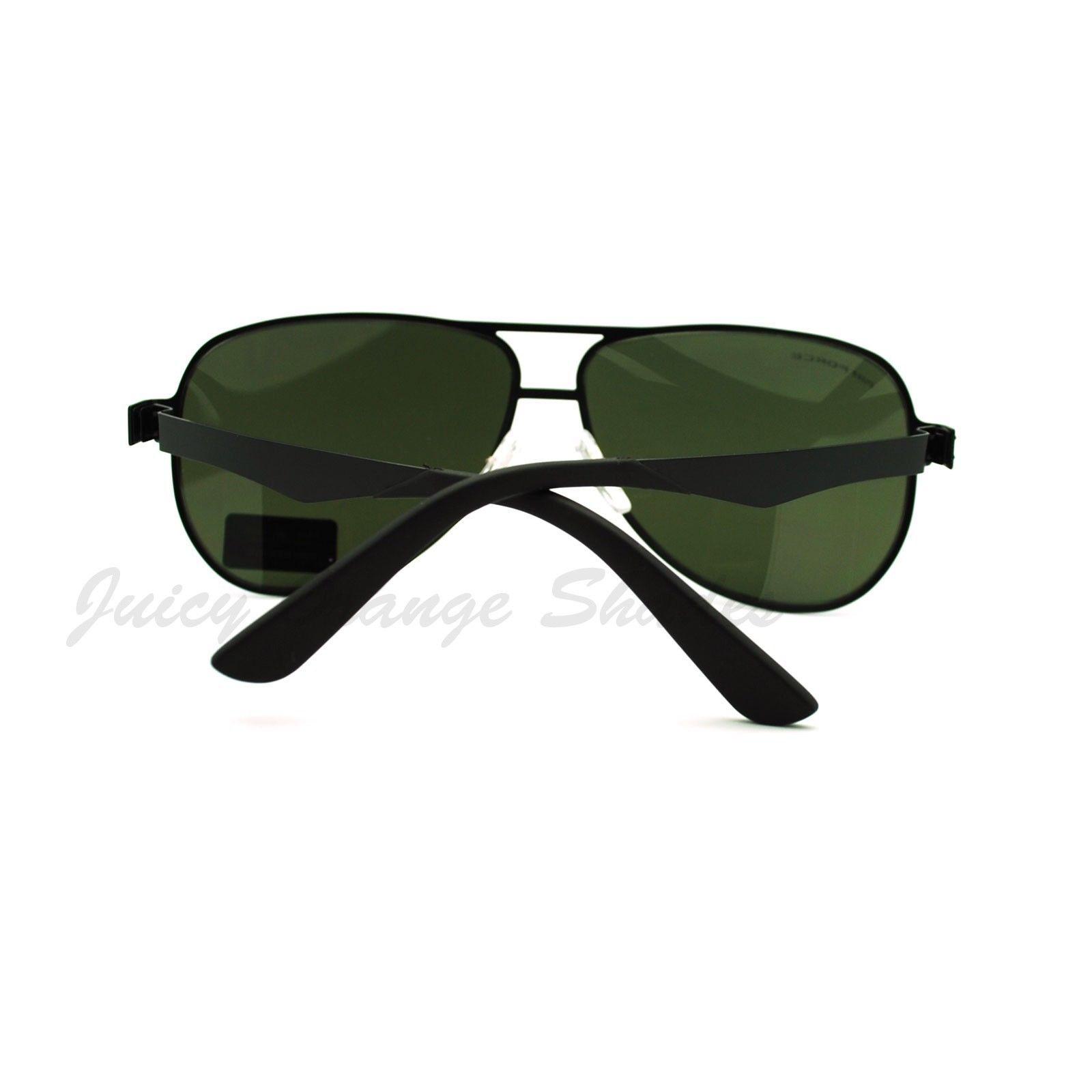 Spring Hinge Aviator Sunglasses Unisex Unique Flat Metal Frame