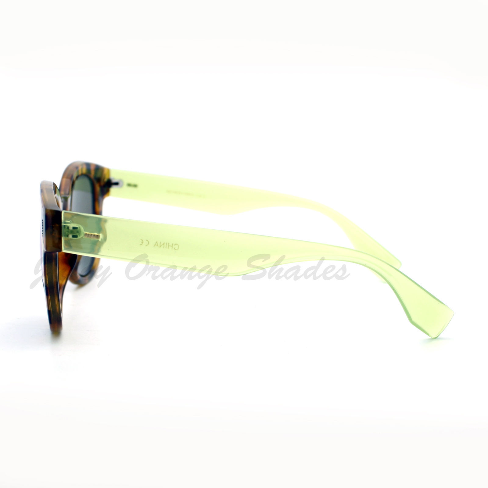 Womens Fashion Sunglasses Round Horn Rim Color Tortoise Mirror Lens