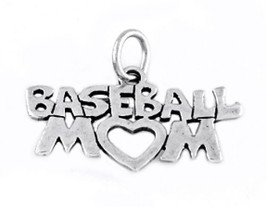"STERLING SILVER BASEBALL MOM CHARM WITH 16"" BOX CHAIN - $17.75"