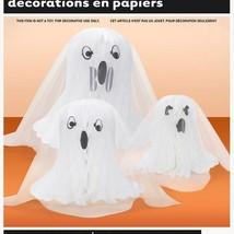 3 Cute Honeycomb Centerpiece Ghosts Halloween Decoration - $5.03