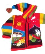 Alpakaandmore Unisex Toddler Hooded Cardigan, Peru Hand- Embroidered Cou... - $44.55