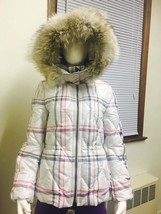 COACH F84053 Tattersall Short Puffer Jacket Coat with Fur Trimmed Hood XS/S/M/L - $190.00