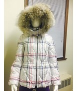 COACH F84053 Tattersall Short Puffer Jacket Coat with Fur Trimmed Hood X... - $190.00