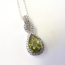 """New Sterling Silver Pendant Made With Pear Shape Peridot Swarovski Elements 18"""" - $14.84"""