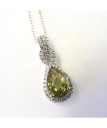 New Sterling Silver Pendant Made With Pear Shape Peridot Swarovski Eleme... - $14.84