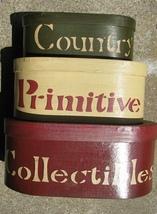 30224E - Country Primitive set of 3 boxes Paper Mache' - $16.95