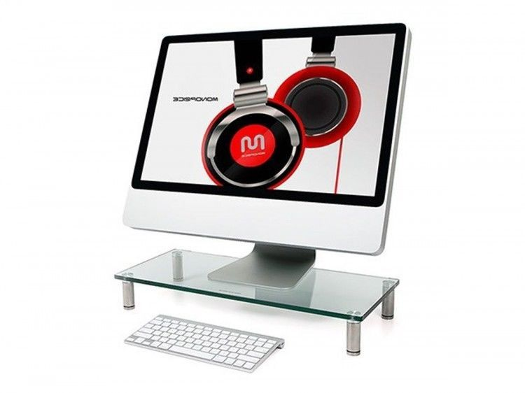 Pc Monitor Stand Glass Desk Shelf Desktop Computer Laptop Screen TV Rack Holder