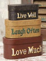 3B1124-Live Laugh Love Set of 3 Boxes Paper Mache' - $24.95