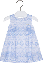 Mayoral Baby Girls 3M-24M Sky Blue White Textured Lace Social Dress
