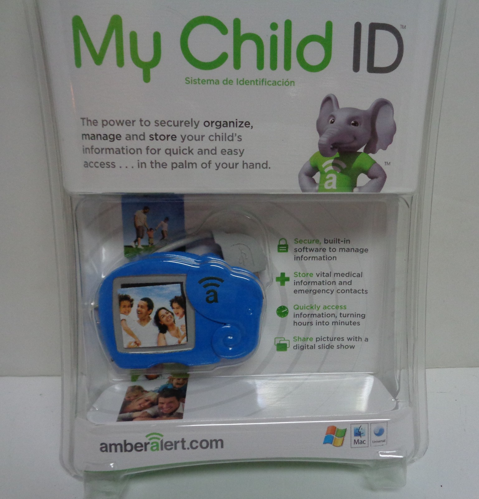 Primary image for New Amber Alert My Child ID Safeguard Child Vital Information Blue Elephant USB